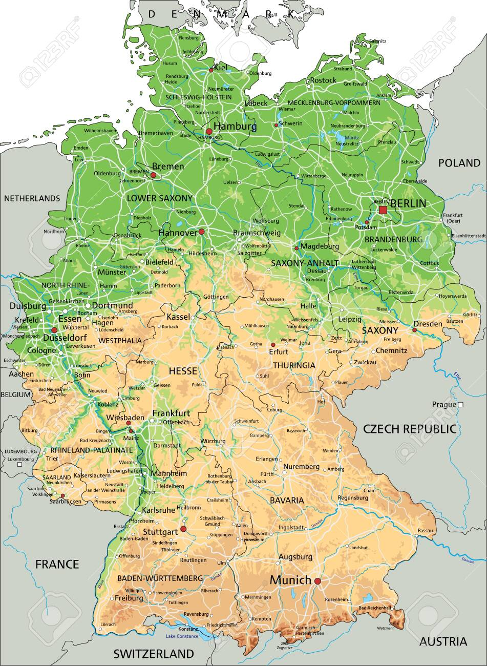 Picture of: High Detailed Germany Physical Map With Labeling Royalty Free Cliparts Vectors And Stock Illustration Image 122617418