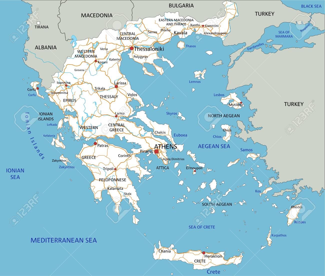 High detailed Greece road map with labeling. - 122617506