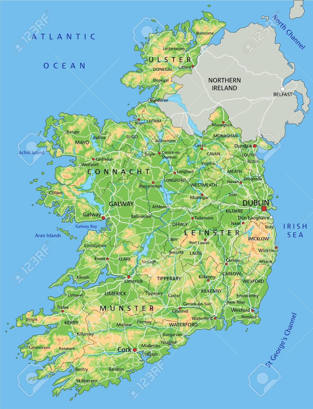 Physical Map Of Ireland.High Detailed Ireland Physical Map With Labeling