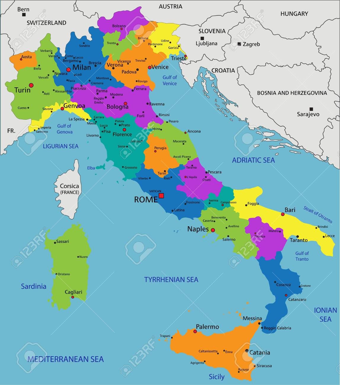 Labeled Map Of Italy.Colorful Italy Political Map With Clearly Labeled Separated