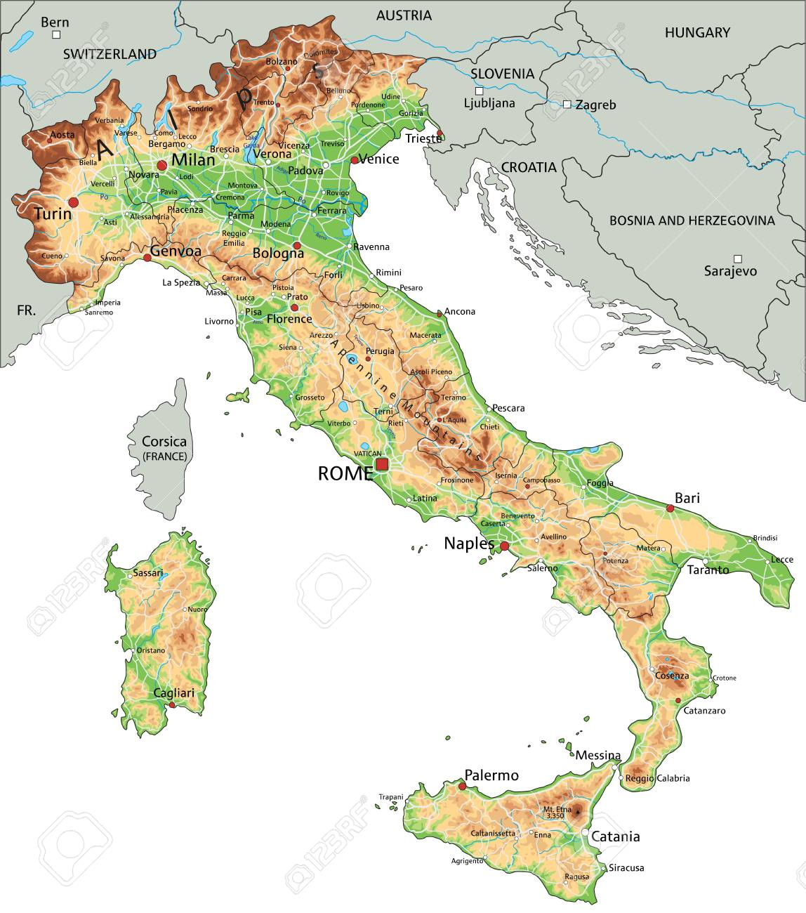 Picture of: High Detailed Italy Physical Map With Labeling Royalty Free Cliparts Vectors And Stock Illustration Image 122295673
