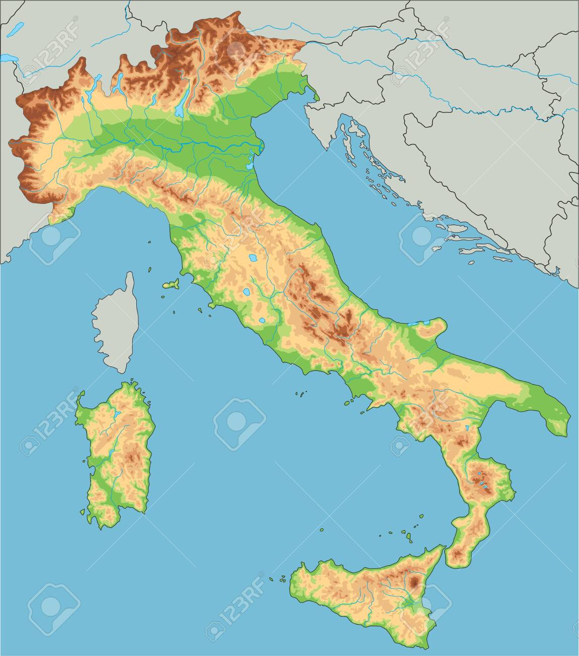Picture of: High Detailed Italy Physical Map Royalty Free Cliparts Vectors And Stock Illustration Image 122295675