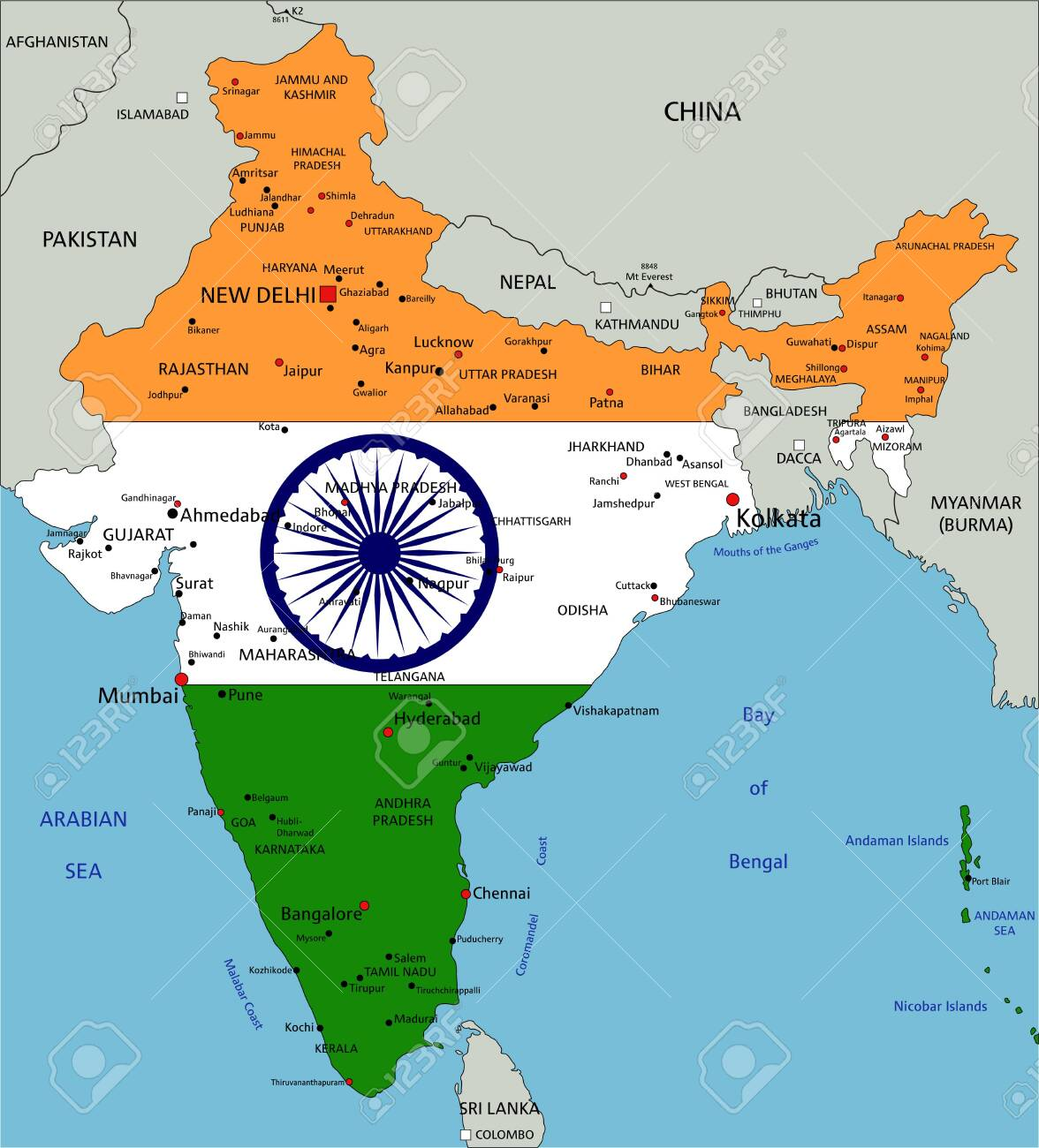 India highly detailed political map with national flag isolated..