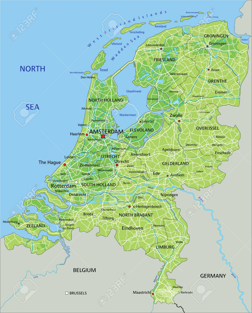 Image of: High Detailed Netherlands Physical Map With Labeling Royalty Free Cliparts Vectors And Stock Illustration Image 122617884