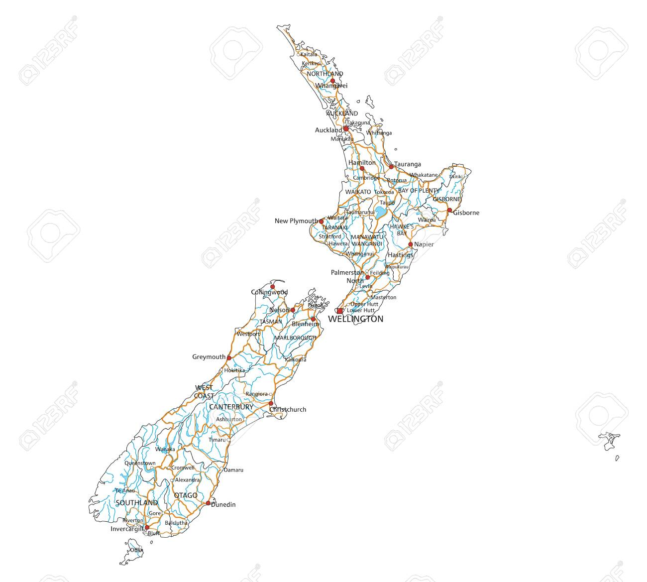 New Zealand Map Labeled.High Detailed New Zealand Road Map With Labeling