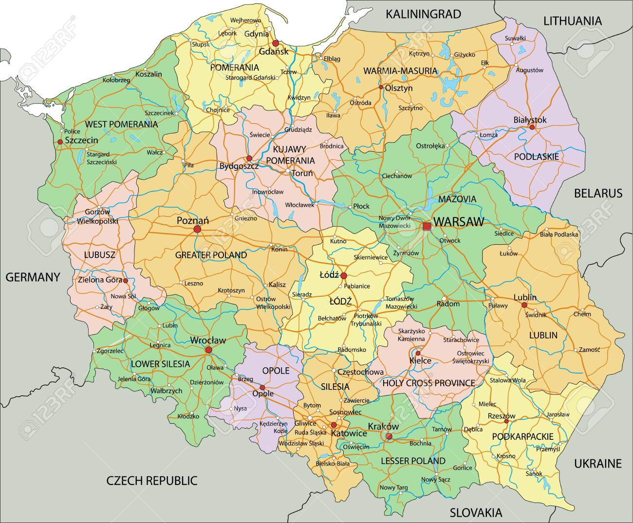 Poland - Highly detailed editable political map with labeling