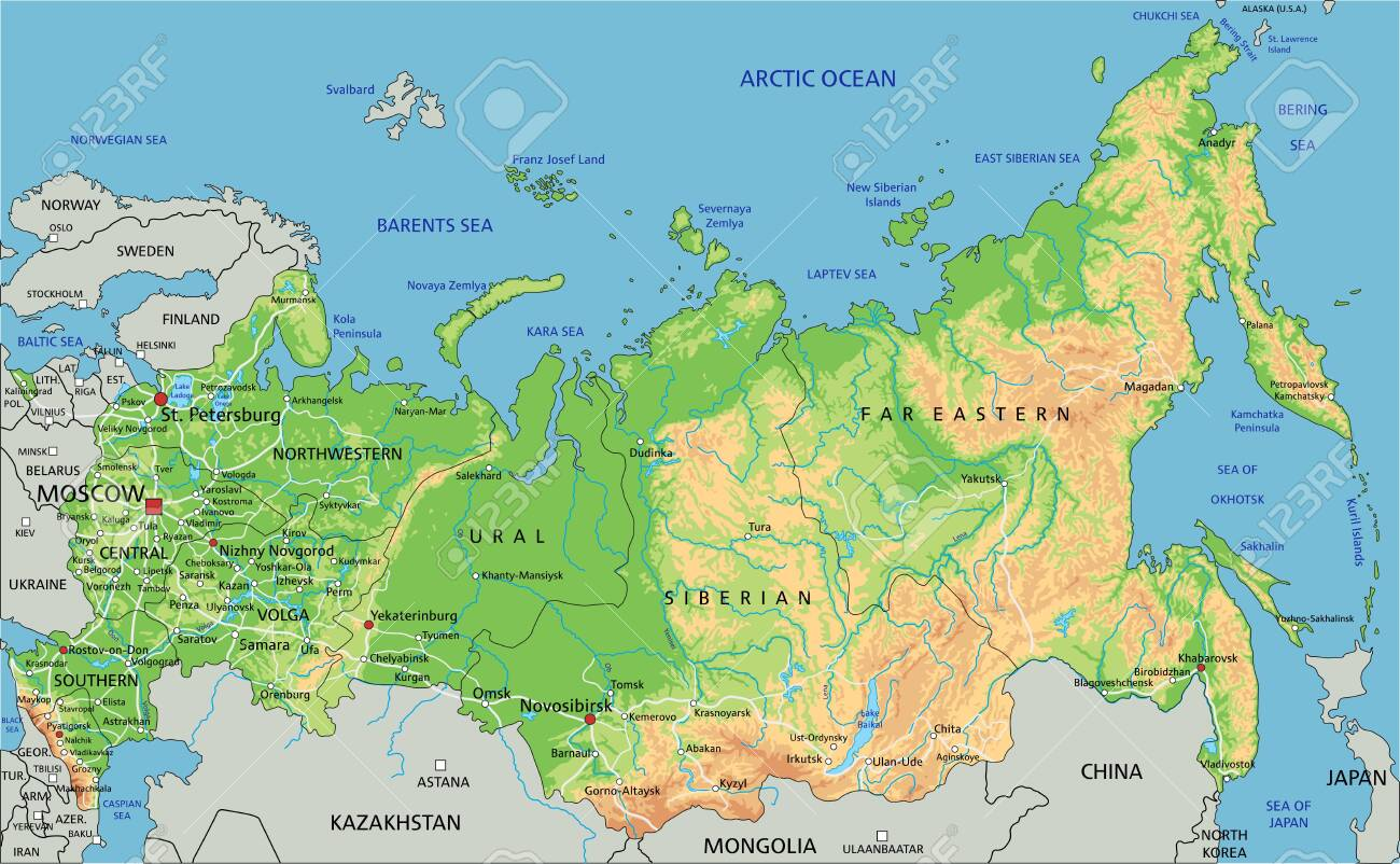 Image of: High Detailed Russia Physical Map With Labeling Royalty Free Cliparts Vectors And Stock Illustration Image 122618041
