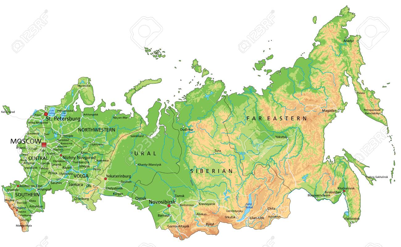 Image of: High Detailed Russia Physical Map With Labeling Royalty Free Cliparts Vectors And Stock Illustration Image 122618040