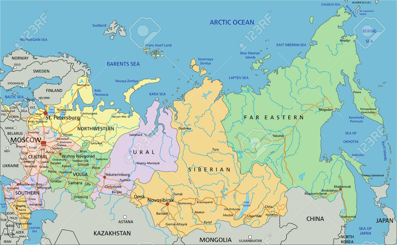 Russia - Highly detailed editable political map with labeling. - 122618045
