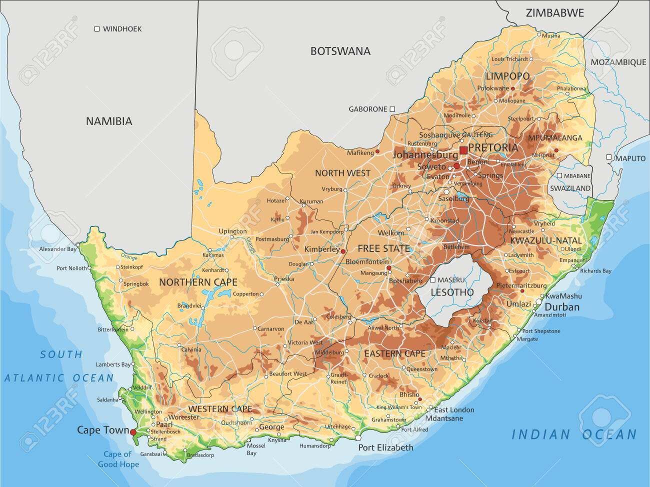 Picture of: High Detailed South Africa Physical Map With Labeling Royalty Free Cliparts Vectors And Stock Illustration Image 122618198