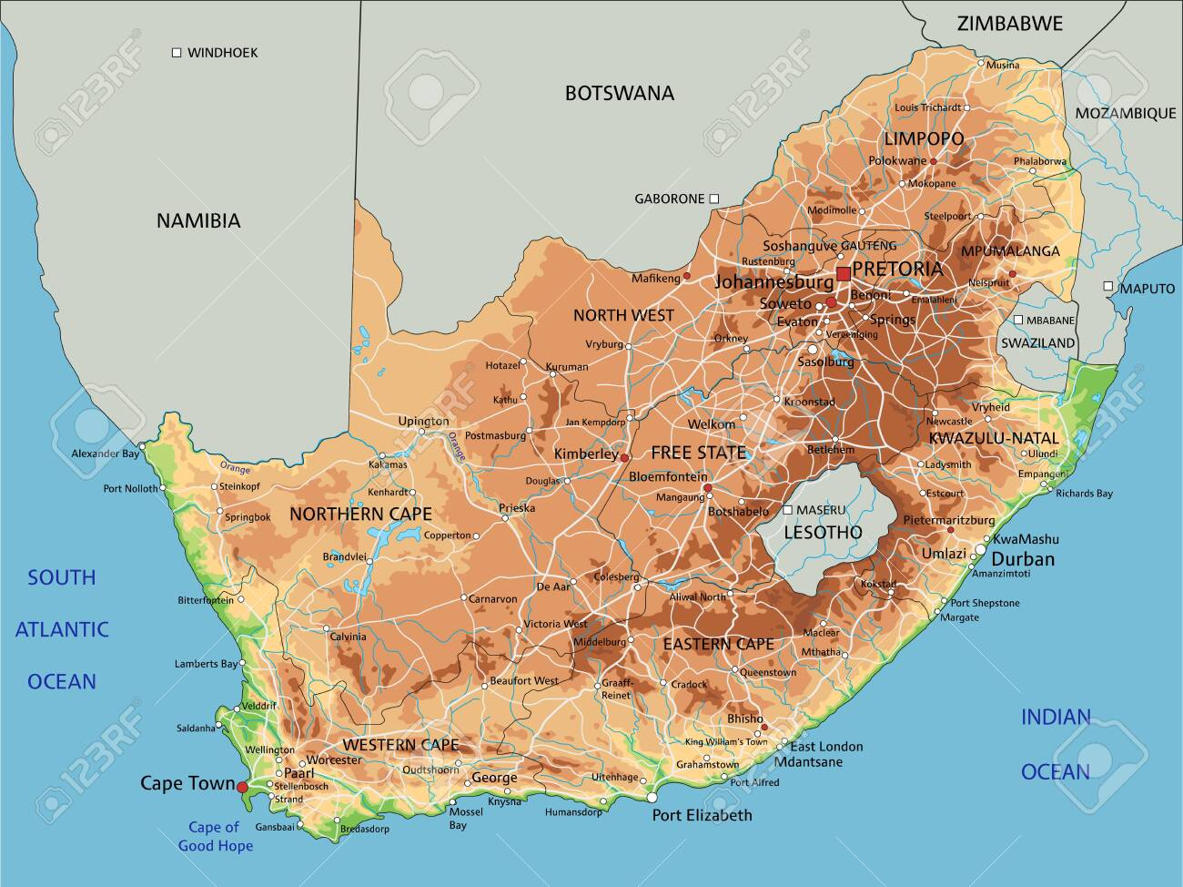 Picture of: High Detailed South Africa Physical Map With Labeling Royalty Free Cliparts Vectors And Stock Illustration Image 122618200