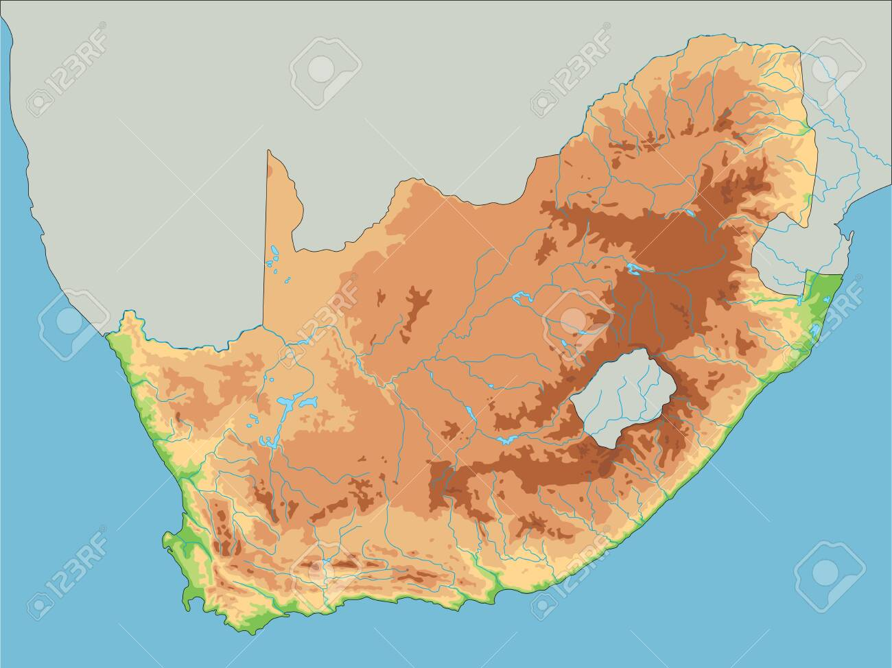Picture of: High Detailed South Africa Physical Map Royalty Free Cliparts Vectors And Stock Illustration Image 122618212