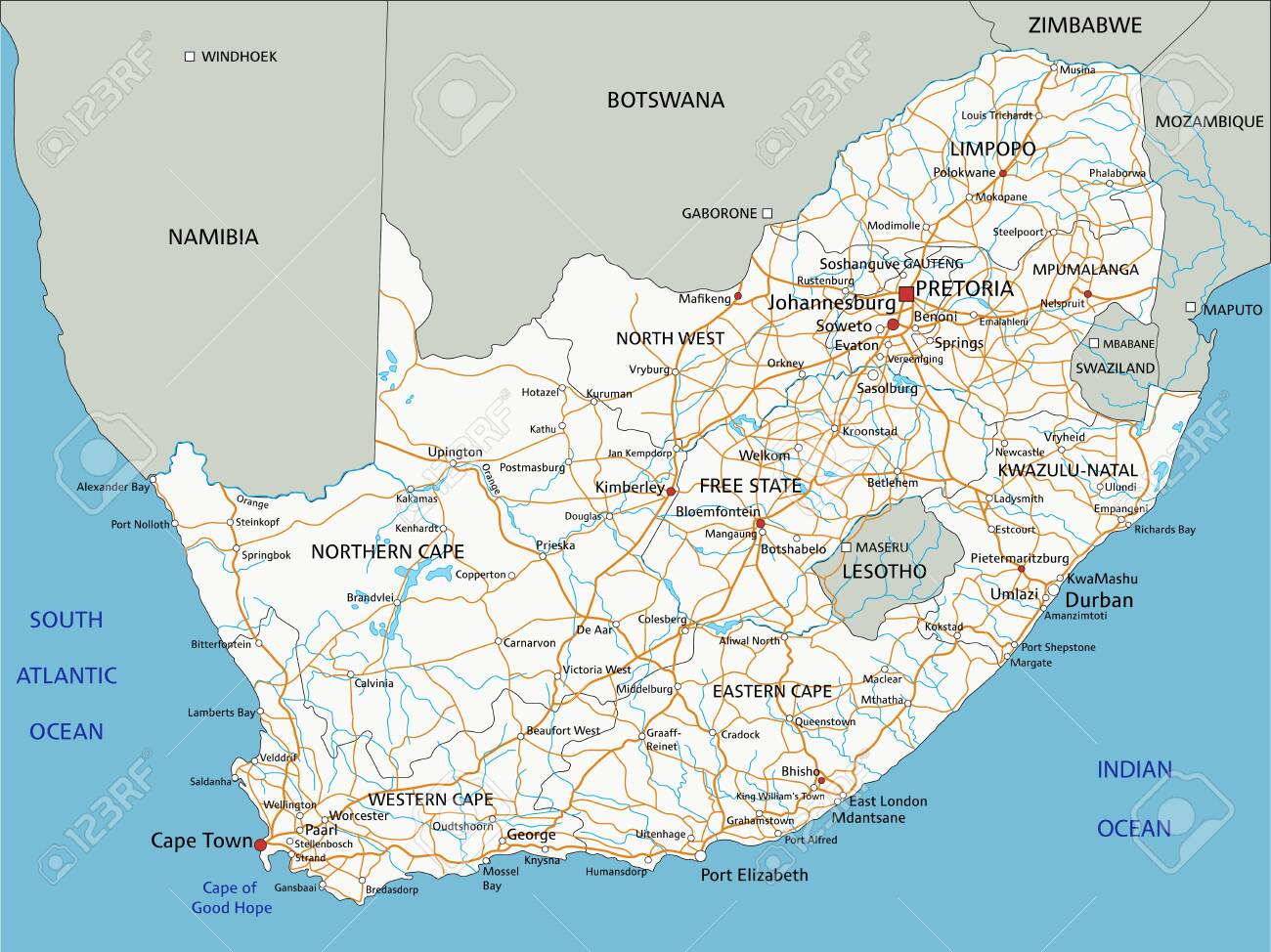 South Africa Road Map High Detailed South Africa Road Map With Labeling. Royalty Free