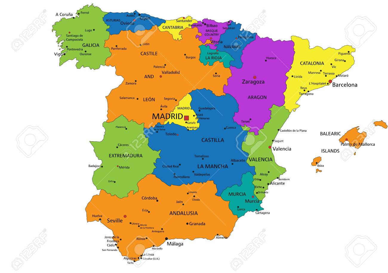 Map Of Spain Labeled.Colorful Spain Political Map With Clearly Labeled Separated