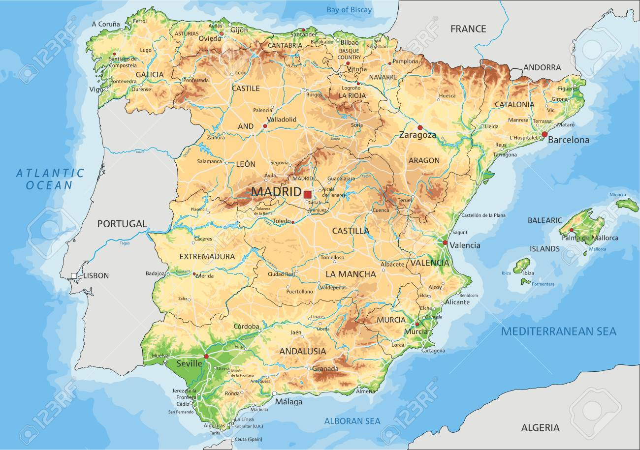 Map Of Spain Labeled.High Detailed Spain Physical Map With Labeling