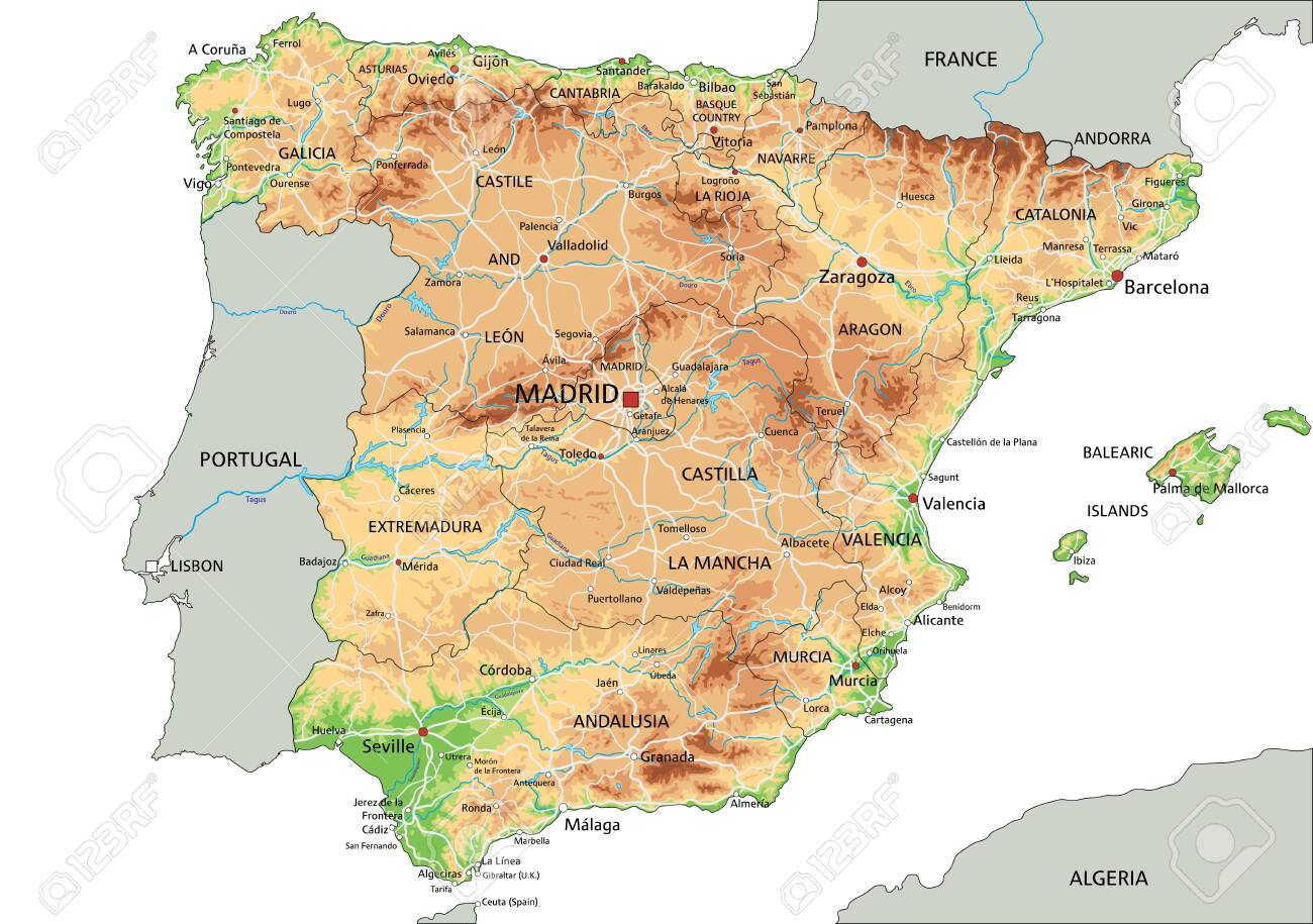 Image of: High Detailed Spain Physical Map With Labeling Royalty Free Cliparts Vectors And Stock Illustration Image 122716320