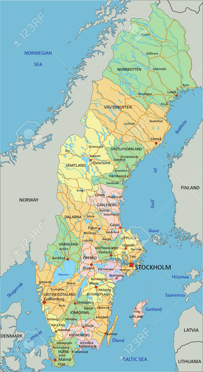 Sweden - Highly detailed editable political map with labeling. - 122716351