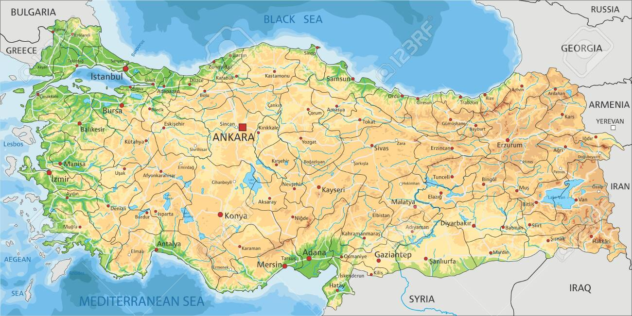 Image of: High Detailed Turkey Physical Map With Labeling Royalty Free Cliparts Vectors And Stock Illustration Image 122716420