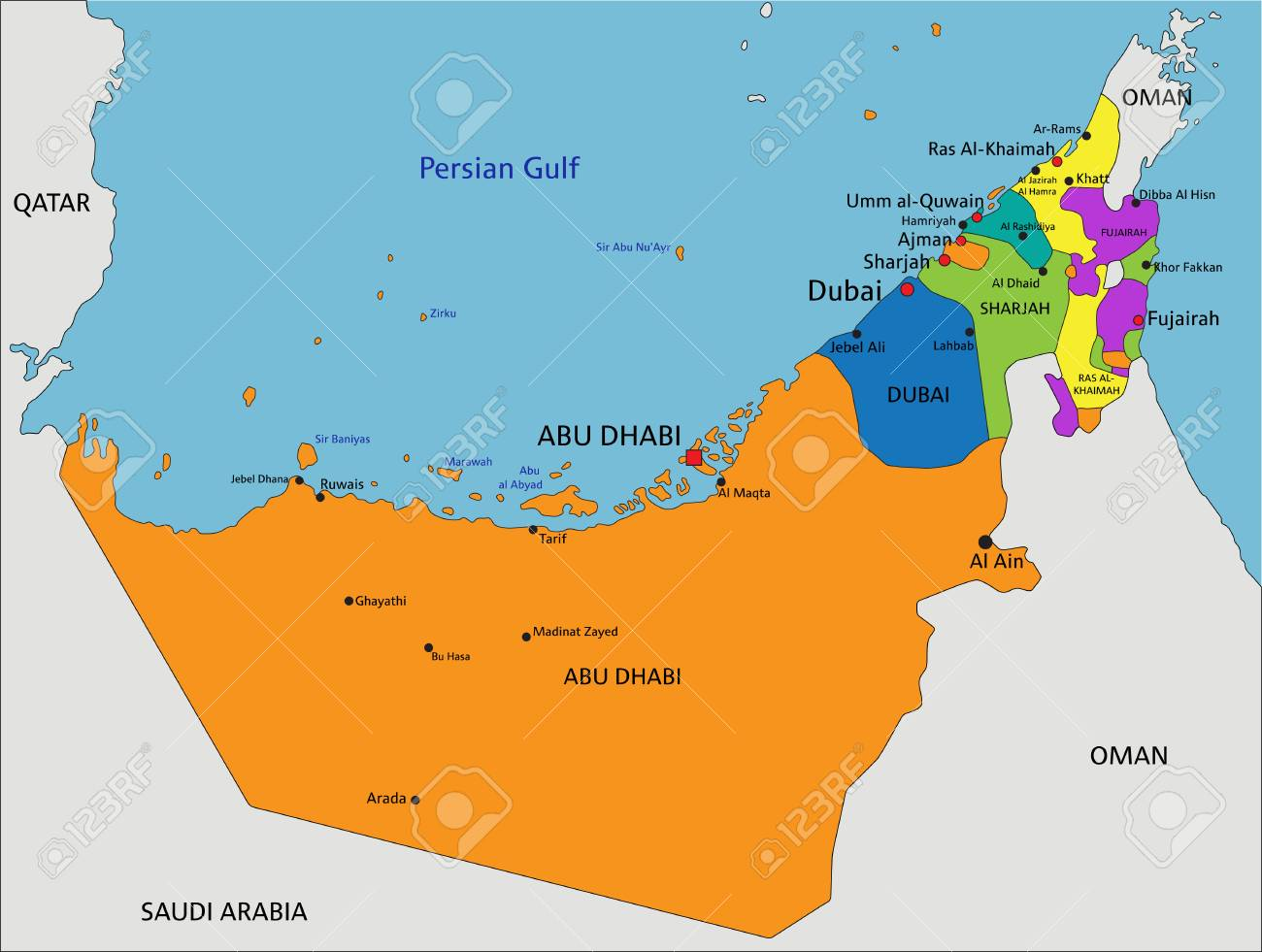 Colorful United Arab Emirates political map with clearly labeled,..