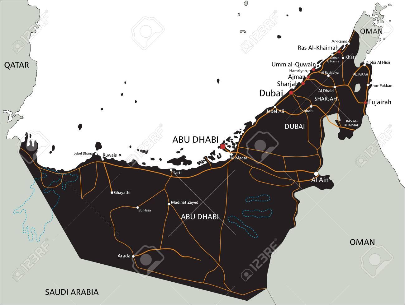 High detailed United Arab Emirates road map with labeling. on uae geographic features, uae terrain map, uae royal family, uae weather, kempinski hotel ajman location map, uae leadership, sharjah uae map, uae road signs, uae beach, uae river map, abu dhabi map, uae map google, uae world map, uae animals, uae satellite map, uae asia map, uae on map, uae university, uae port map,