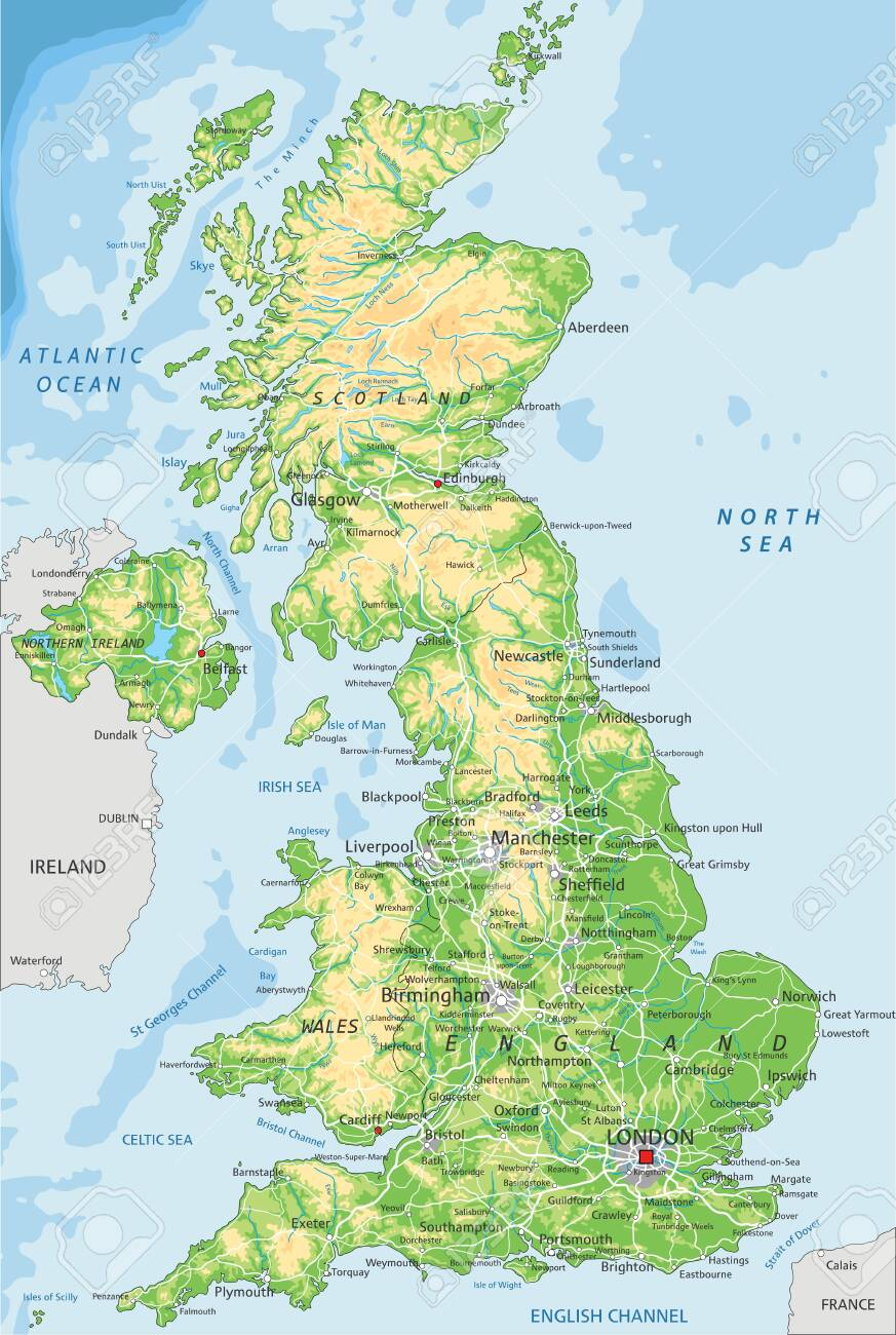 High Detailed United Kingdom Physical Map With Labeling Royalty Free Cliparts Vectors And Stock Illustration Image 122716480