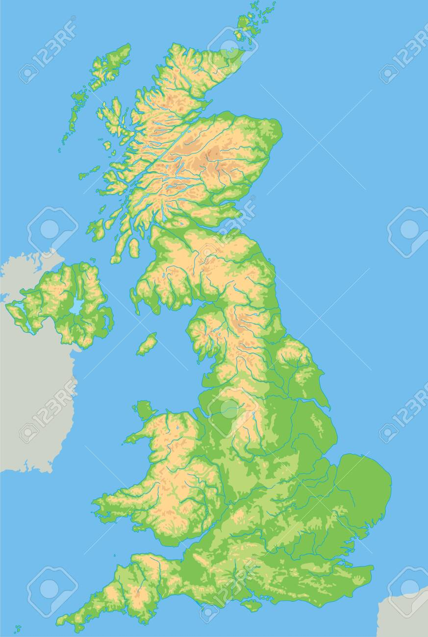Picture of: High Detailed United Kingdom Physical Map Royalty Free Cliparts Vectors And Stock Illustration Image 122716481