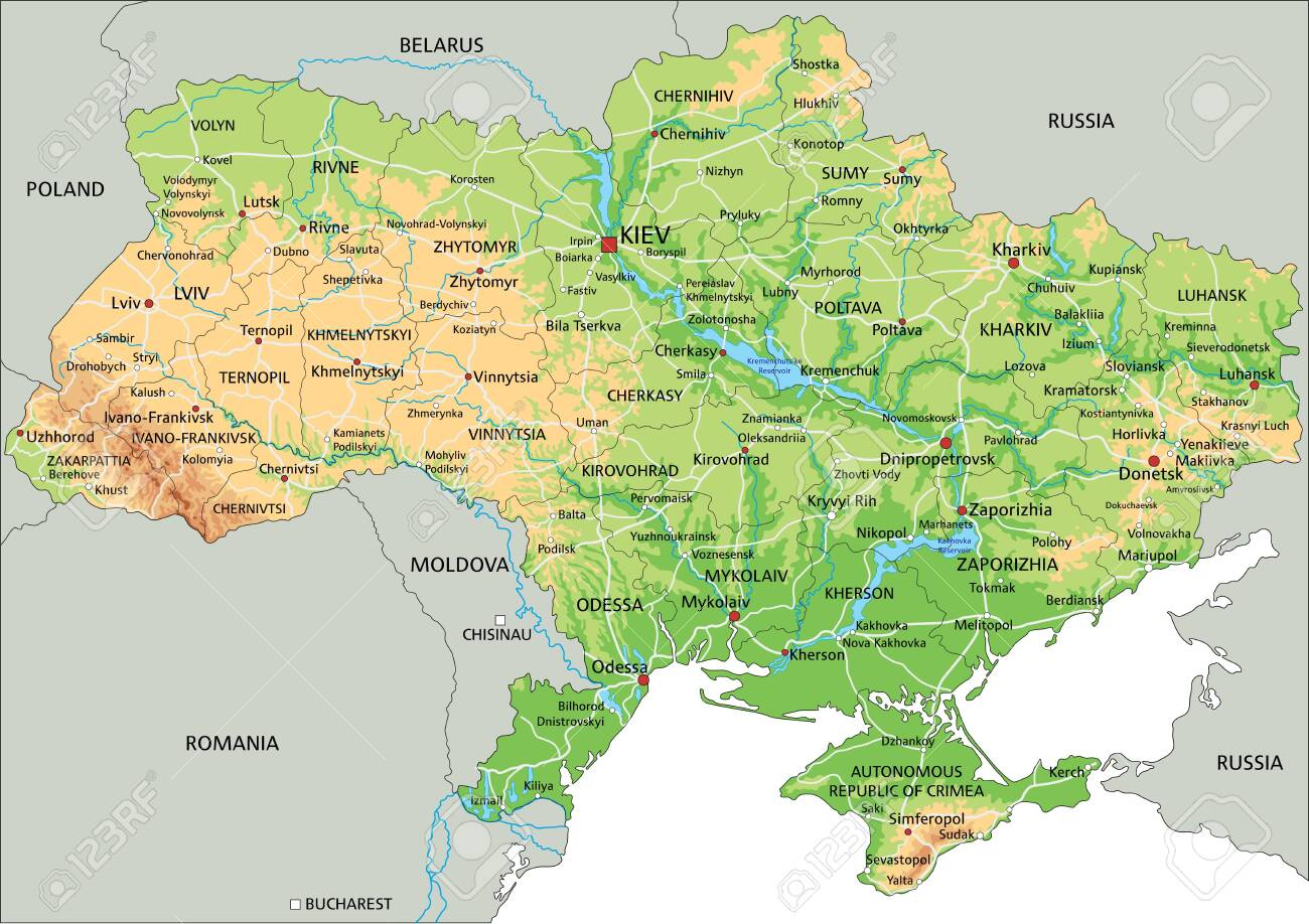 Image of: High Detailed Ukraine Physical Map With Labeling Royalty Free Cliparts Vectors And Stock Illustration Image 122716521