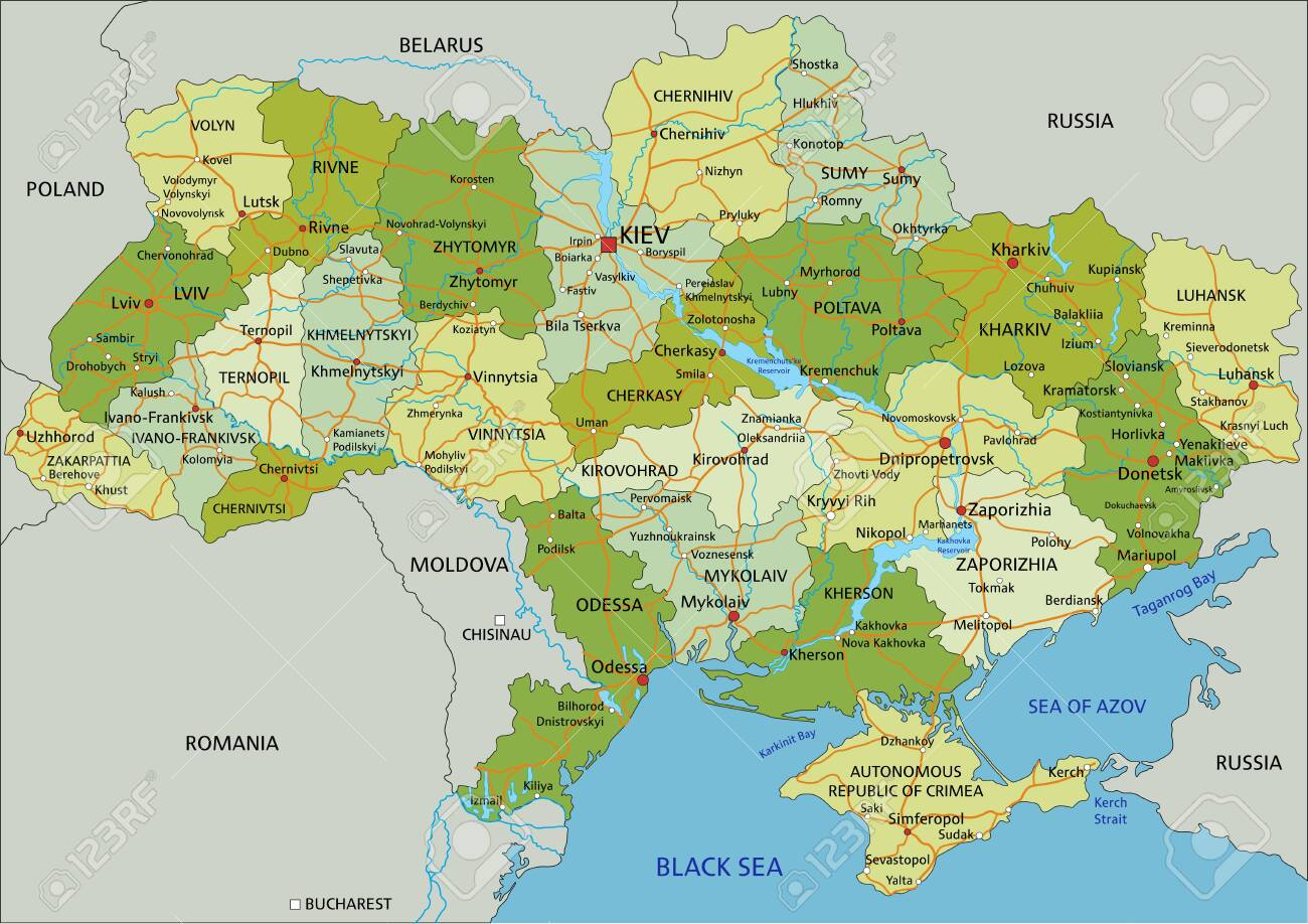 Highly detailed editable political map with separated layers. Ukraine. - 122716510