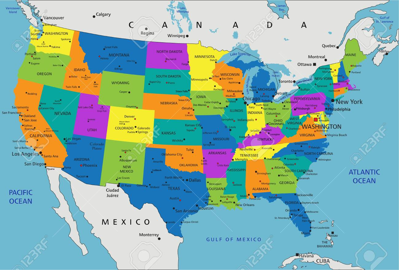 Colorful United States of America political map with clearly..