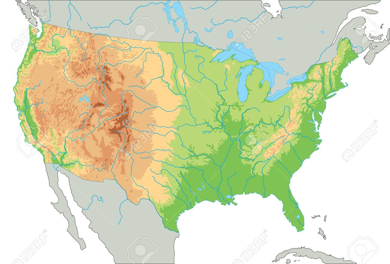 High detailed United States of America physical map.