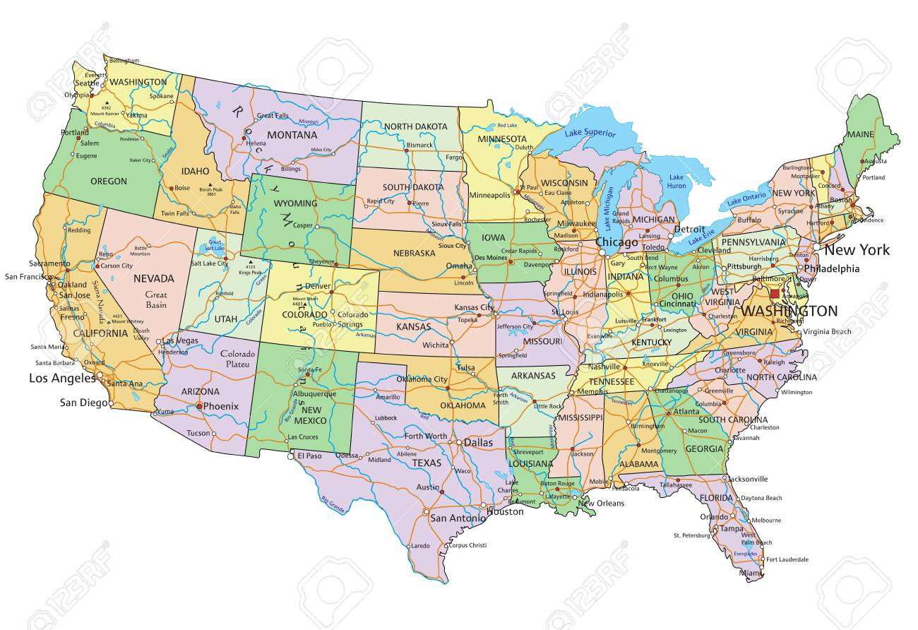 United States of America - Highly detailed editable political map with labeling. - 122716532