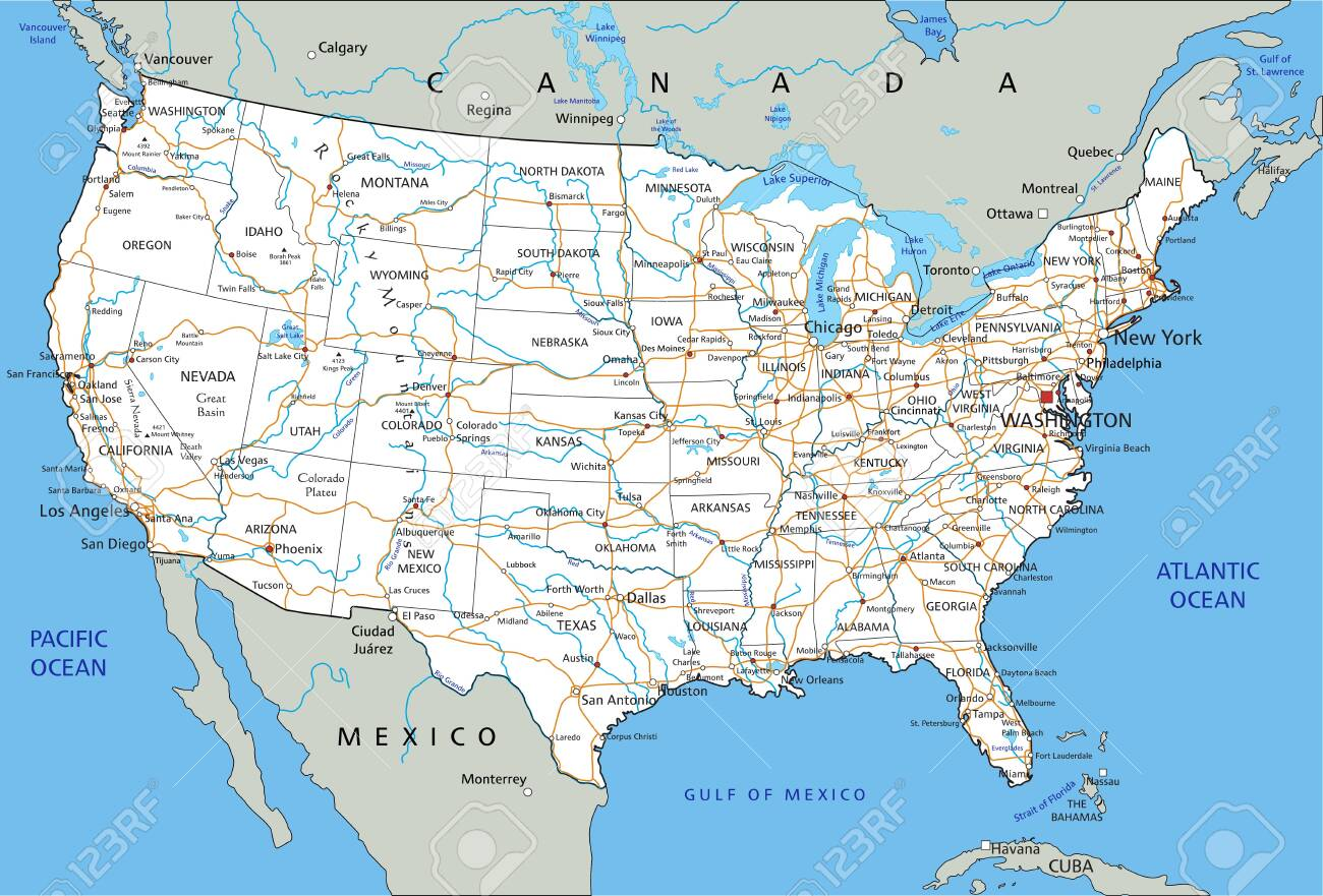 Detailed Map Of America.High Detailed United States Of America Road Map With Labeling