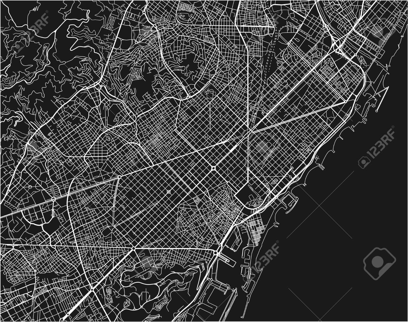 Black and white vector city map of Barcelona with well organized.. on map of kiev city, map of zhuhai city, map spain city, map of malta city, map of danang city, map of ulan bator city, map of juba city, map of switzerland city, map of bucharest city, map of chiang rai city, map of rio de janeiro city, map of quito city, about barcelona city, map of nagoya city, map of sharjah city, map of toledo city, map of bulawayo city, map of dallas city, map of kunming city, map of queen city,