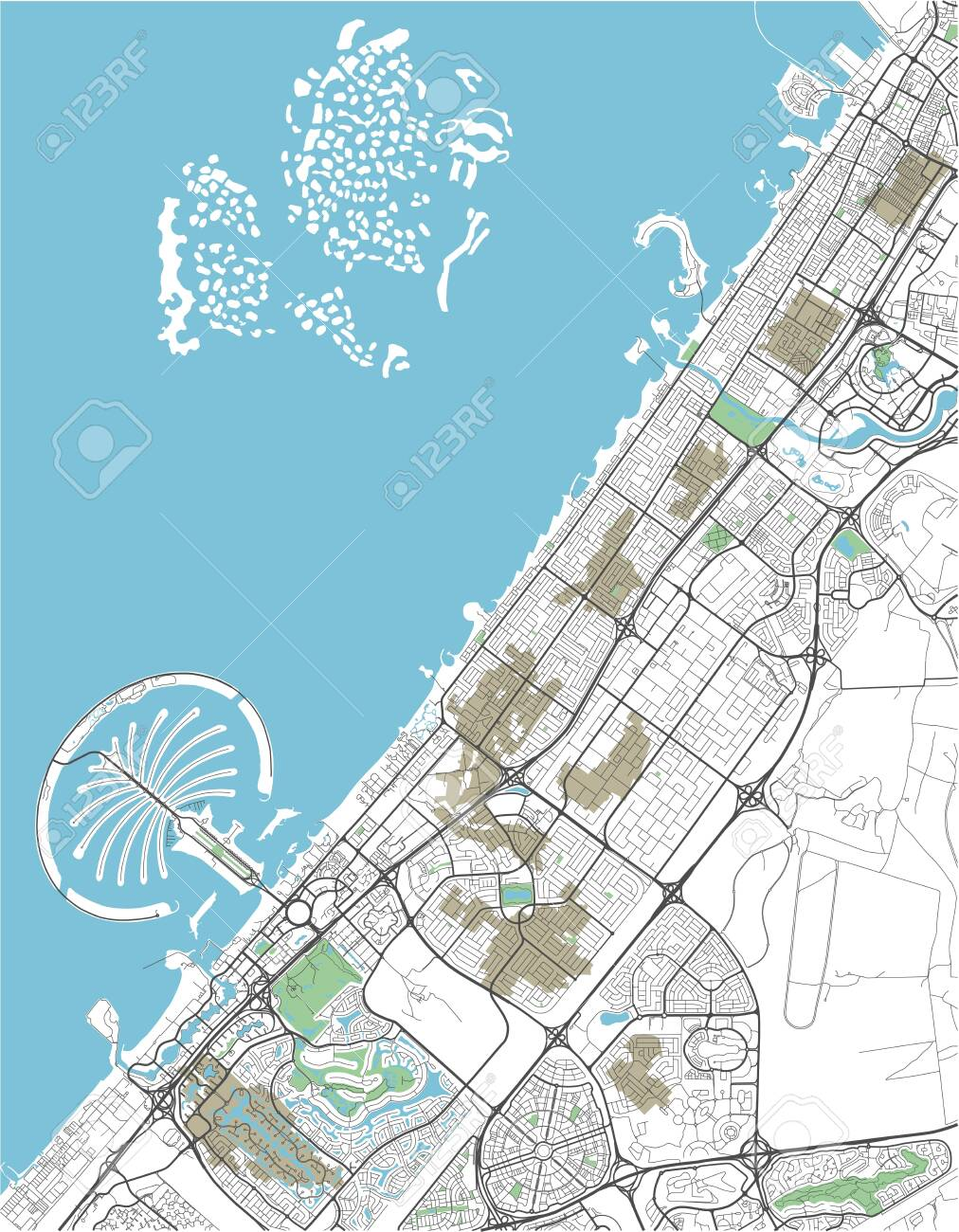 Colorful vector city map of Dubai with well organized separated..