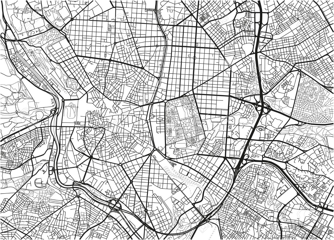 Black And White Madrid black and white vector city map of madrid with well organized..