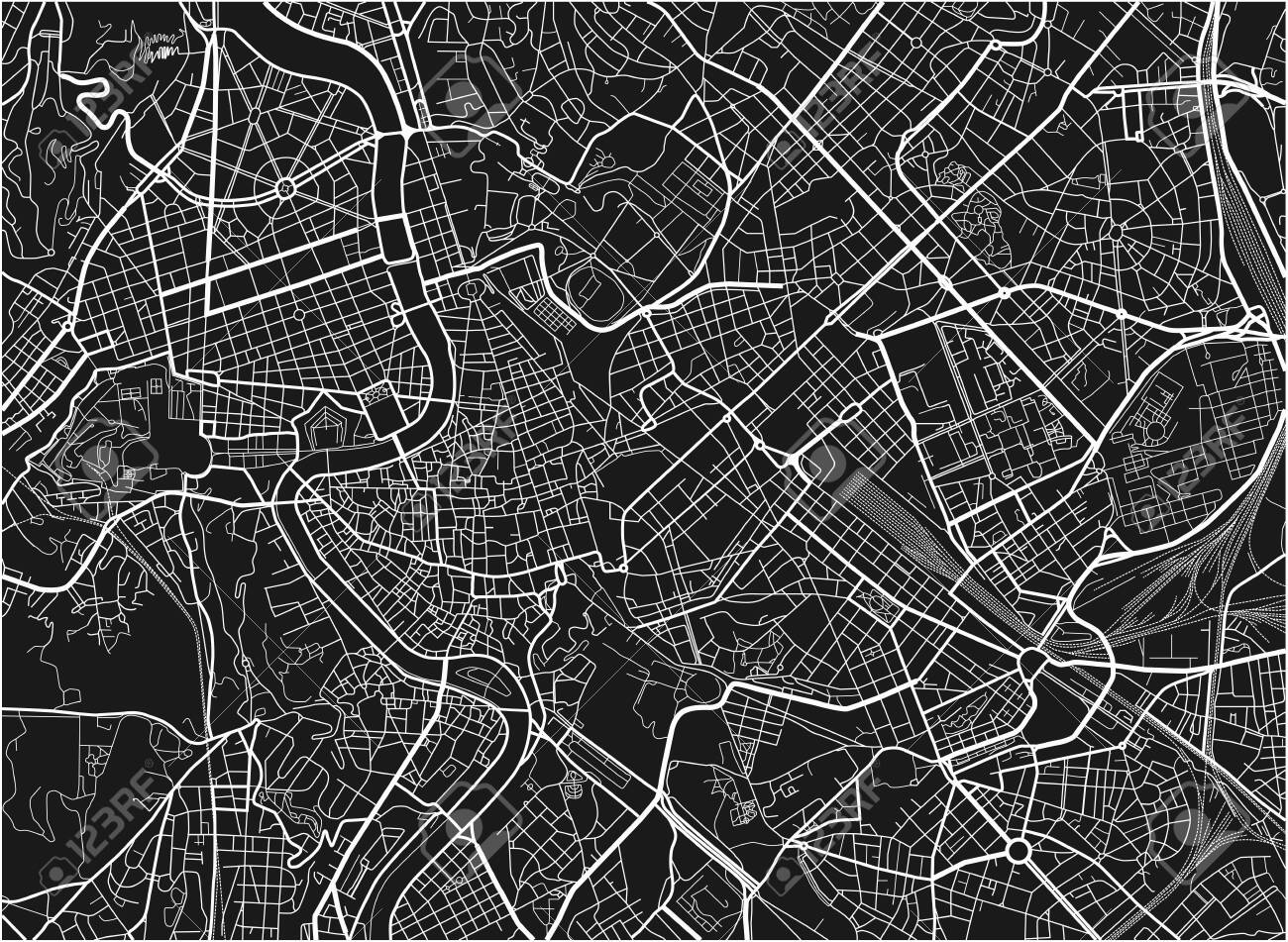 Black and white vector city map of Rome with well organized separated layers. - 122656850