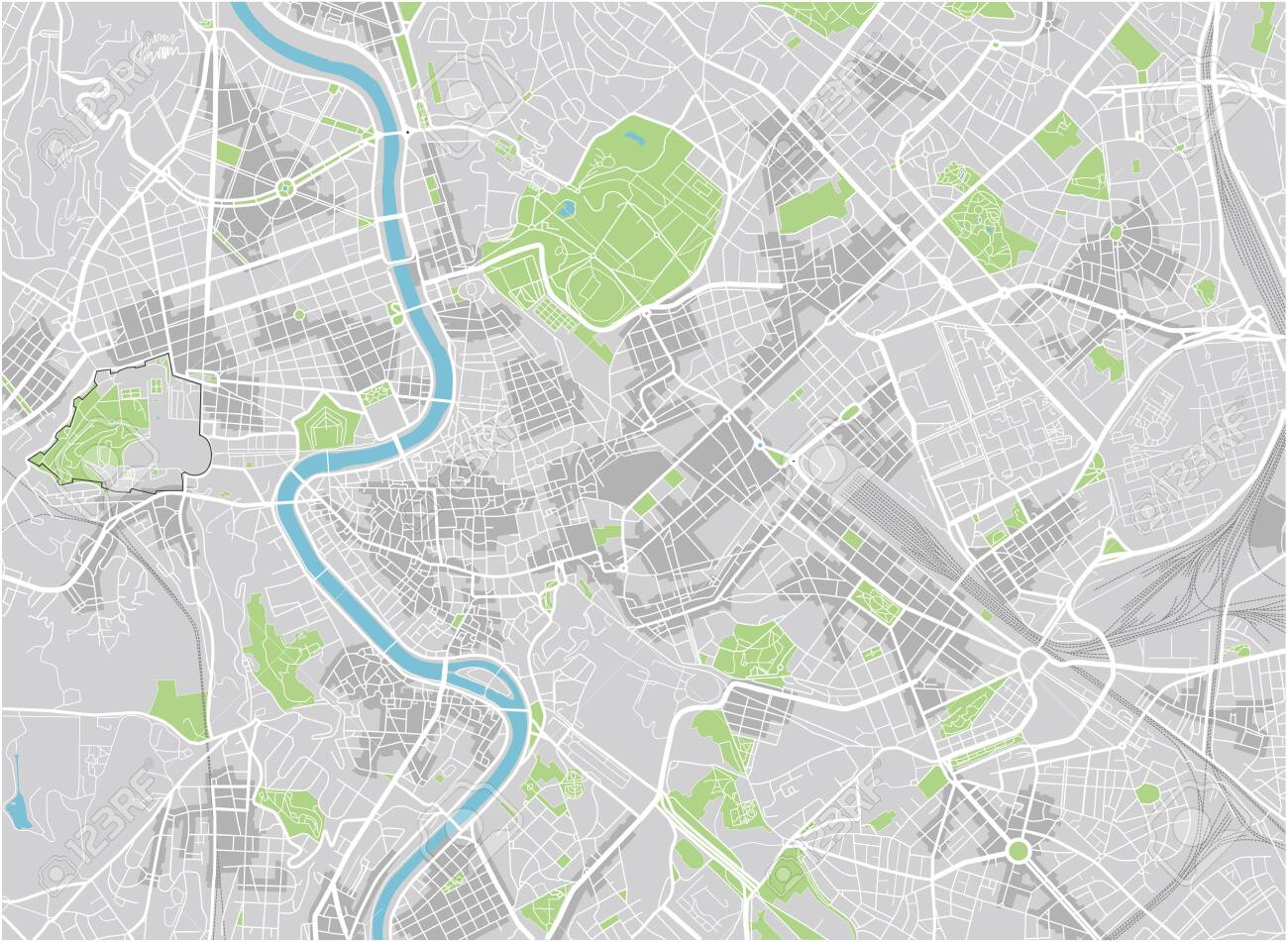 Vector city map of Rome with well organized separated layers.