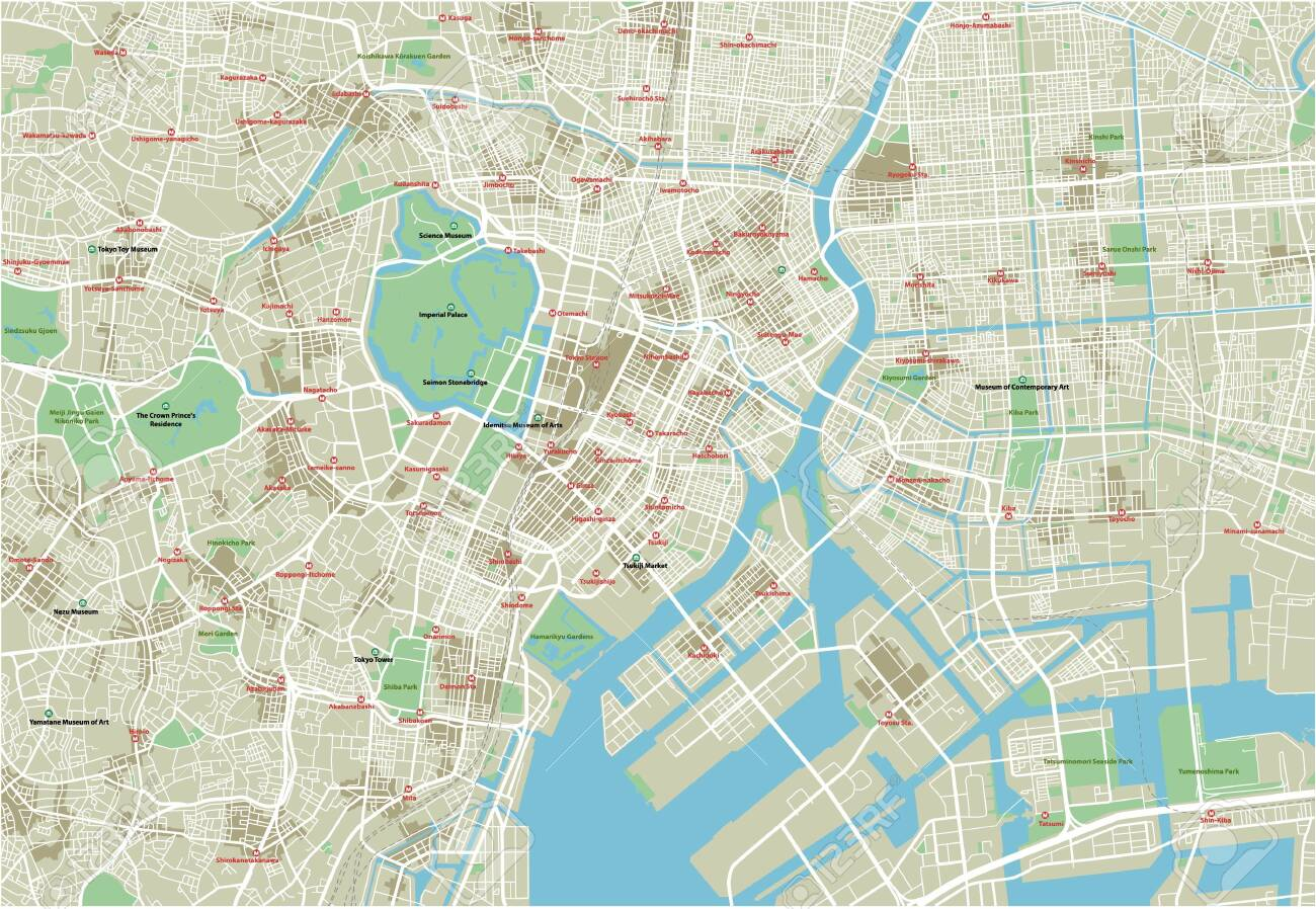 Vector city map of Tokyo with well organized separated layers. - 122656917