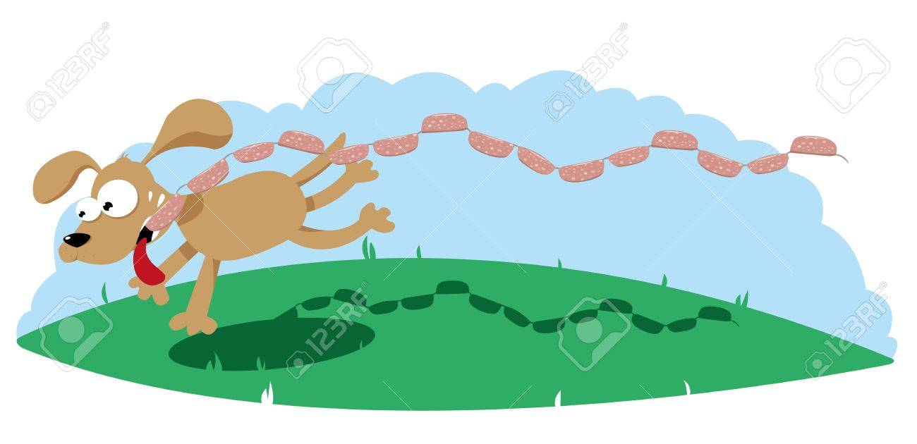Funny Dog with sausages Stock Vector - 15616547