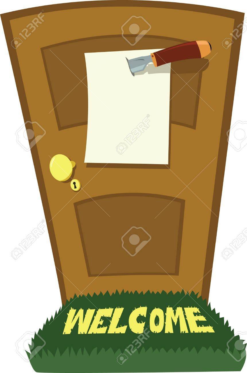a cartoon representing a closed door with a message, holden by a knife Stock Vector - 15616524