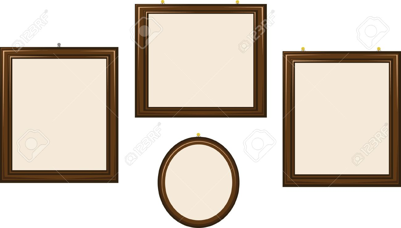 vector a group of empty frames of different shapes