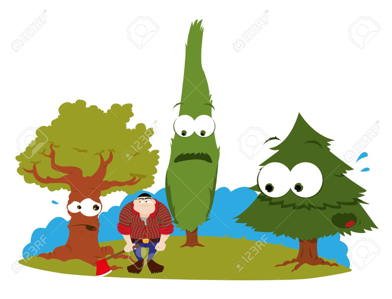 a cartoon representing three funny trees and a logger Stock Vector - 15616523