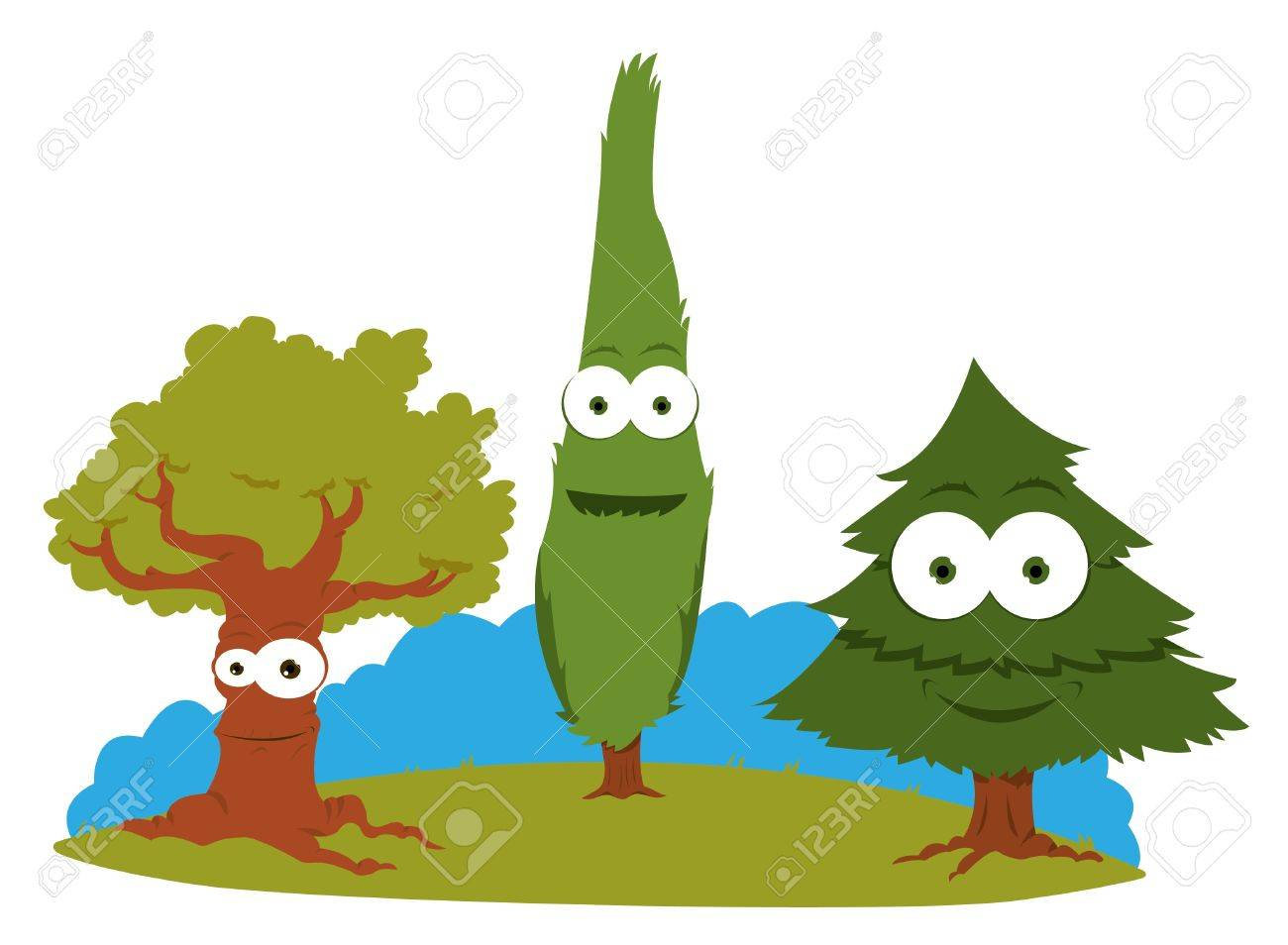 a cartoon representing a group of friendly trees royalty free