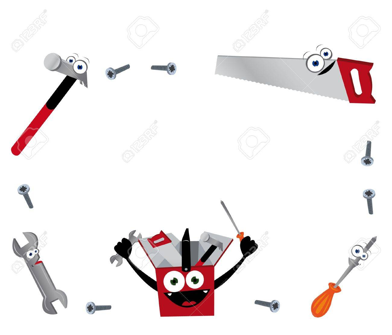 vector a cartoon representing a funny frame maiden of anthropomorphic tools