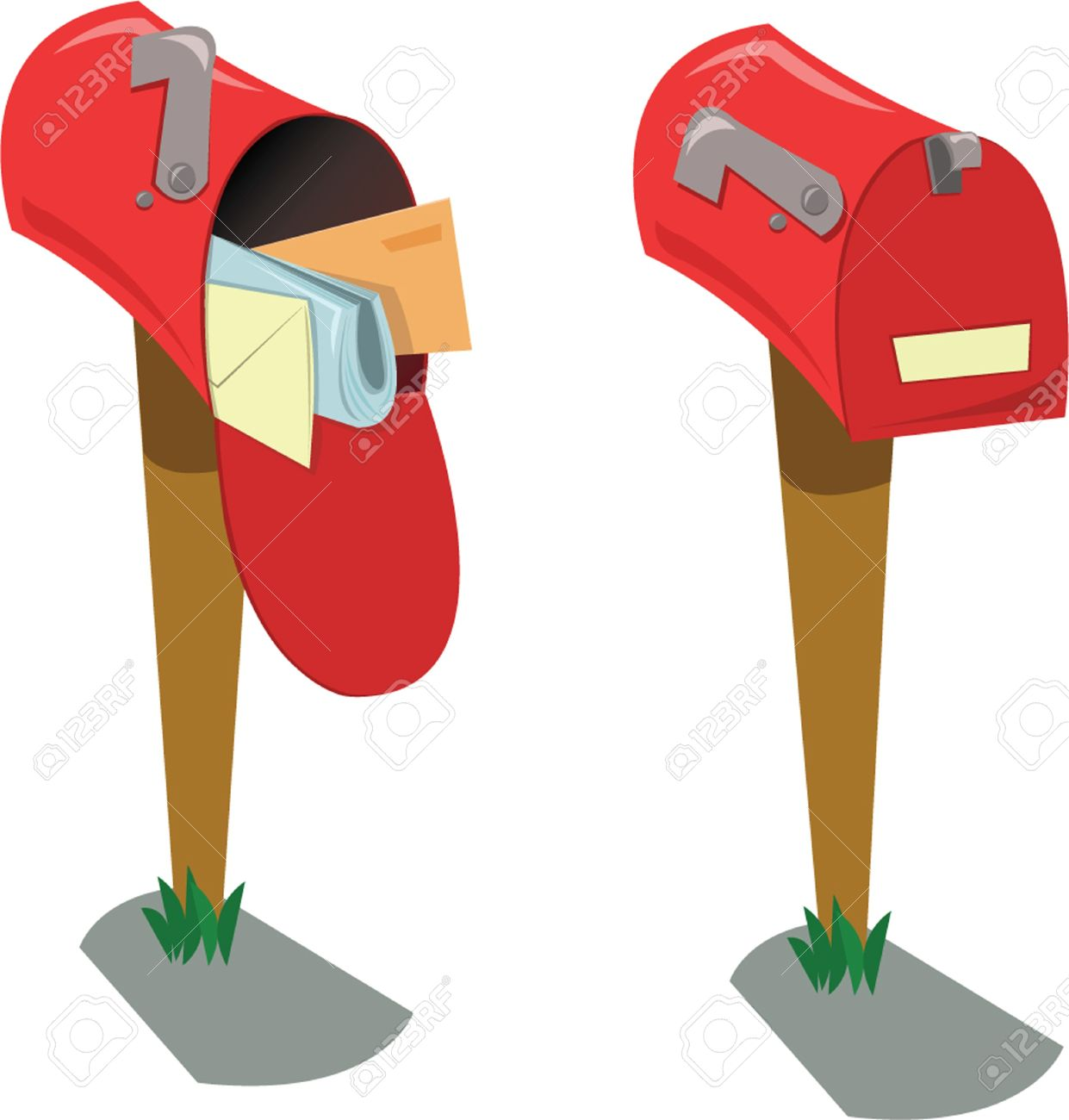 A Cartoon Representing Two Mailboxes The First Opened With Mail