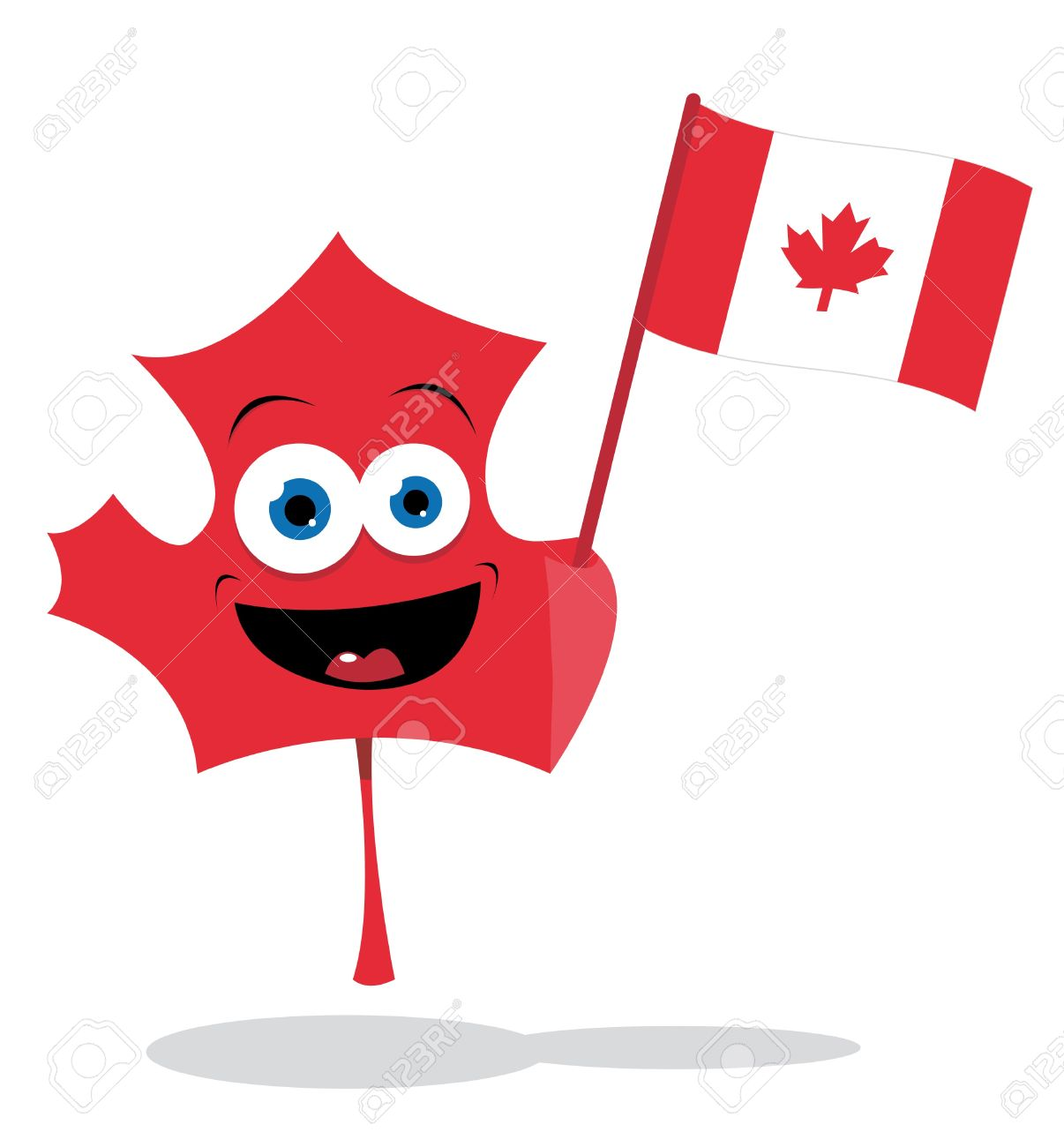 a cute maple leaf holding a canadian flag royalty free cliparts