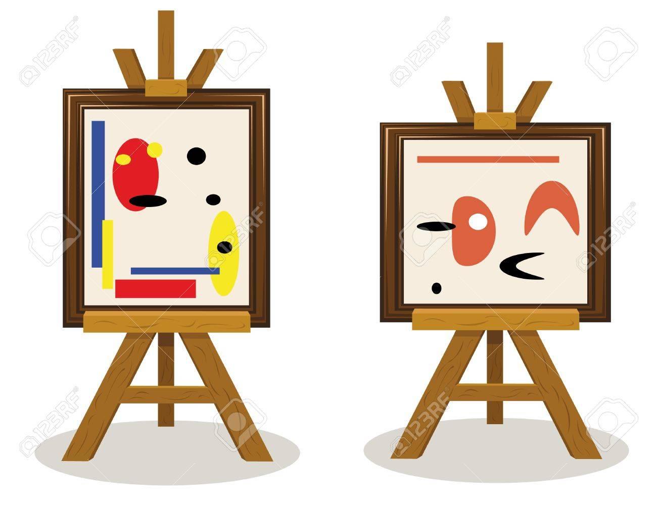 a vector cartoon representing two modern art pieces Stock Vector - 15616483