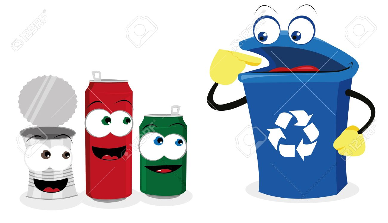 A Vector Cartoon Representing A Funny Recycling Bin And Some ...