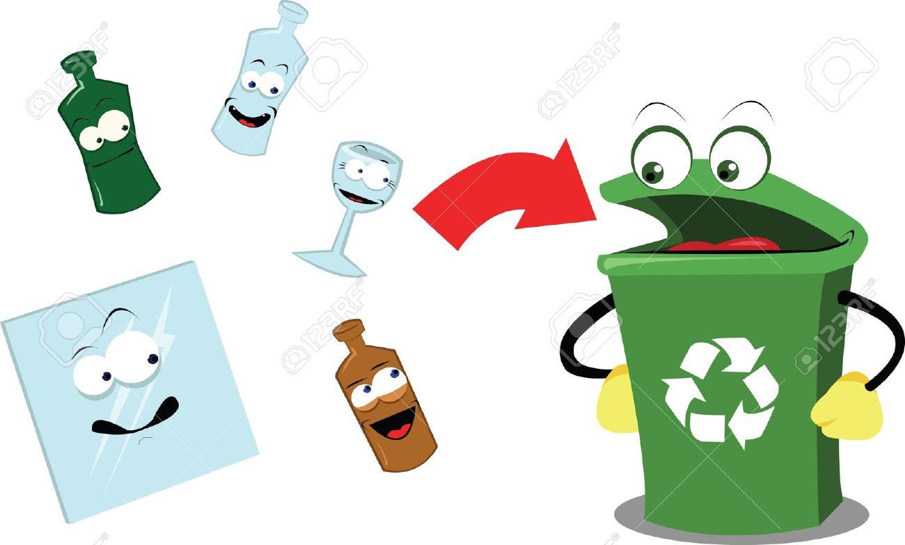 reciclaje papel una caricatura vector que representa un contenedor de reciclaje divertido y algunos objetos