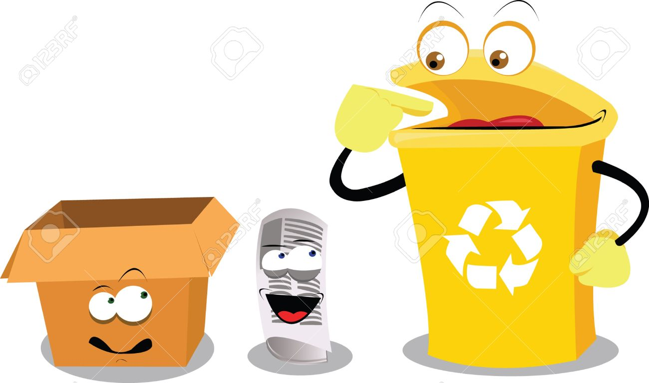 a vector cartoon representing a funny recycling bin Stock Vector - 15628421